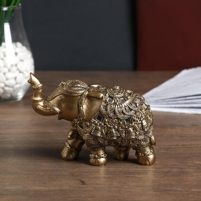 """Сувенир полистоун """"Бронзовый слон в попоне с колокольчиками и зеркалами"""" 11,5х6,5х16 см"""