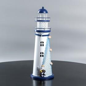 """Подсвечник на 1 свечу """"Маяк"""" белый-синий 9,5х9,5х29 см"""