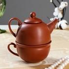 Чайник с чашкой, корричневый, 1 персона, чайник 0,3л , чашка 0,15л (1 сорт)