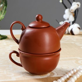 Kettle with a cup, brown, 1 person, a teapot 0,3l, a cup 0,15l (1 grade)