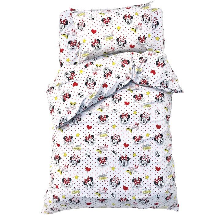 Детское постельное бельё 1,5 сп «Модница Минни Маус» 143*215 см, 150*214 см, 50*70 см -1 шт, 100% хлопок, поплин