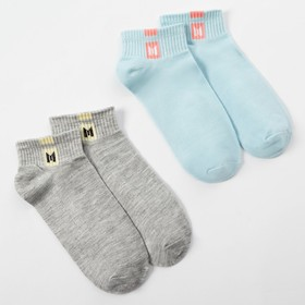 "A set of children's socks 2 pairs ""Solid"", 22-24 cm, blue/grey"