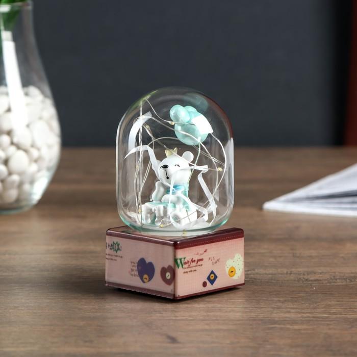 """Сувенир полистоун свет """"Белый мишка с воздушными шариками"""" МИКС 11,5х7х7 см"""