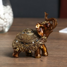 """Souvenir Polyresin """"the elephant in the blanket with tassels and mirrors"""" MIX 12x5,5x11,5 cm"""