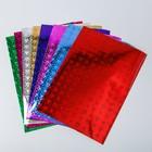 """Набор цветной бумаги """"Голографическая самоклеящаяся, сердечки"""" 8 лист, 8 цветов,21х29,7 см"""