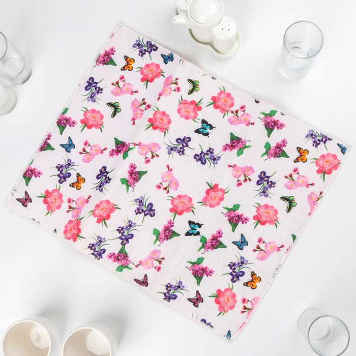 """Коврик для сушки посуды 38×51 см """"Цветы и бабочки"""", микрофибра"""