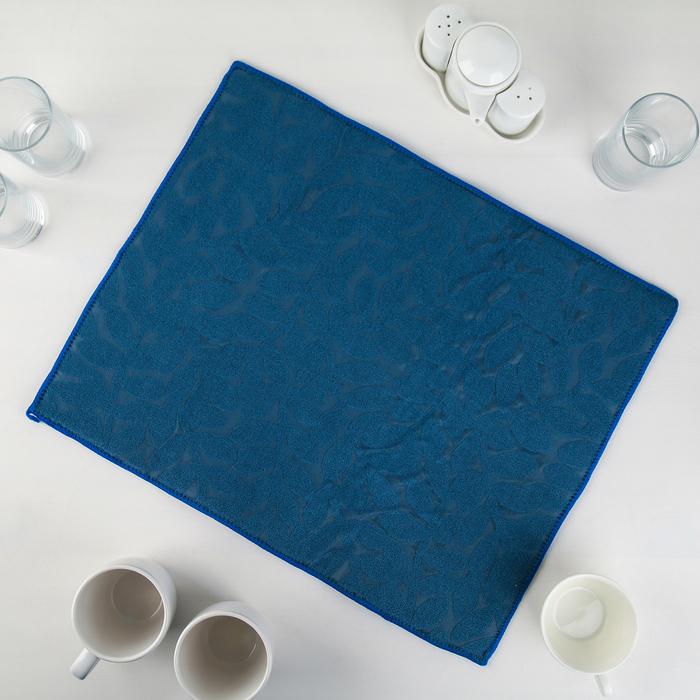 Салфетка для сушки посуды Доляна «Папоротник», 38×50 см, микрофибра, цвет синий