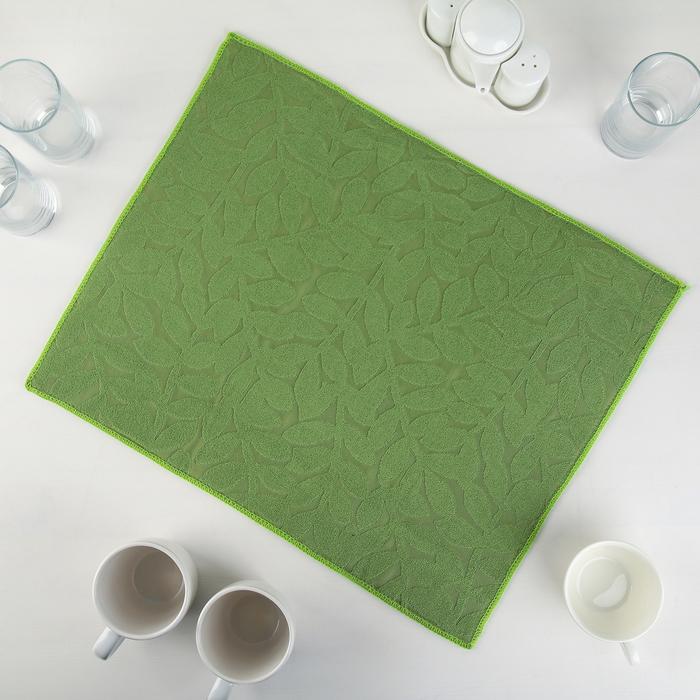 Салфетка для сушки посуды Доляна «Папоротник», 38×50 см, микрофибра, цвет зелёный