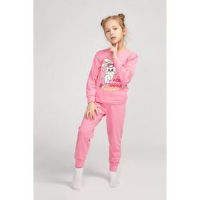 Пижама для девочки, цвет розовый/зайка, рост 86-92 см (52)