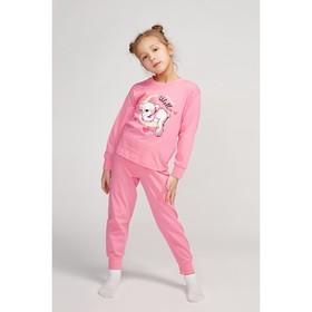 Пижама для девочки, цвет розовый/мишка, рост 86-92 см