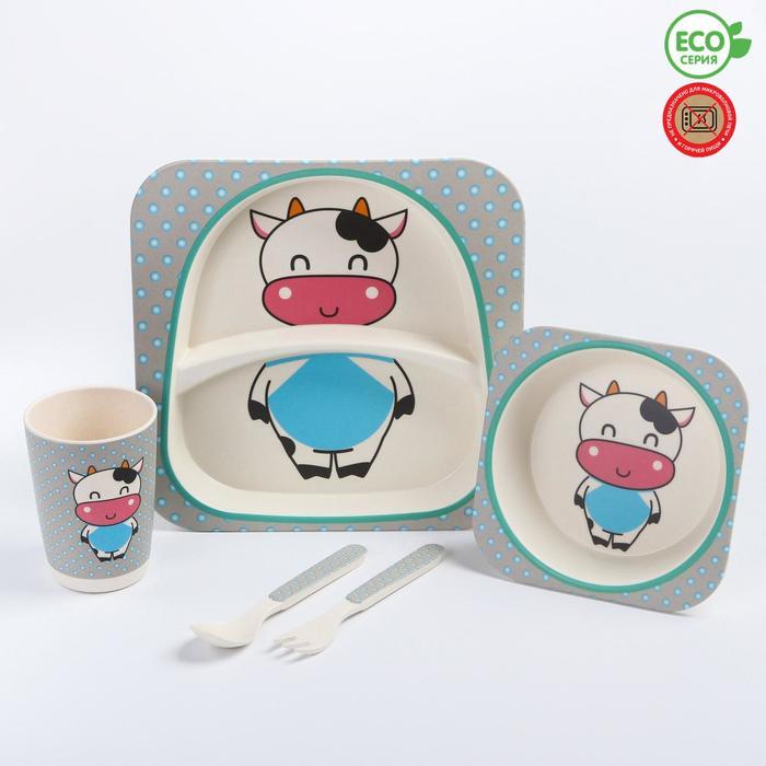 """Набор бамбуковой посуды """"Коровка"""", тарелка, миска, стакан, приборы, 5 предметов - фото 105459605"""