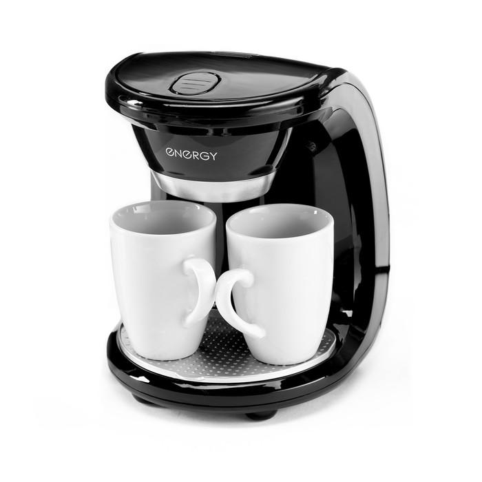 Кофеварка ENERGY EN-605, 500 Вт, 2 чашки, резервуар 240 мл, черная