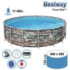Бассейн каркасный Power Steel, 488 x 122 см, фильтр-насос, тент, лестница, 56966 Bestway - фото 298968282