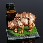 "Сувенир ""Медведь на медведе"", 10х15х9 см, змеевик, гипс"