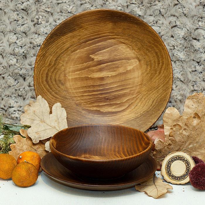Набор тарелок из натуральной пихты Magistro, 3 шт, d=25 см, 20,5 см, 18 см, цвет коричневый