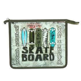 Папка для тетрадей, А5, молния сверху, пластиковая, «Оникс», ПТ- 73, «Скейтборды»