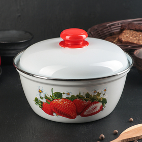 Salad bowl with a cover Juicy strawberries 2 l