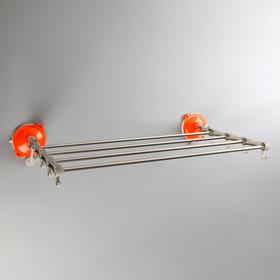 Держатель для полотенец складной, 4 планки, 8 крючков на присосках