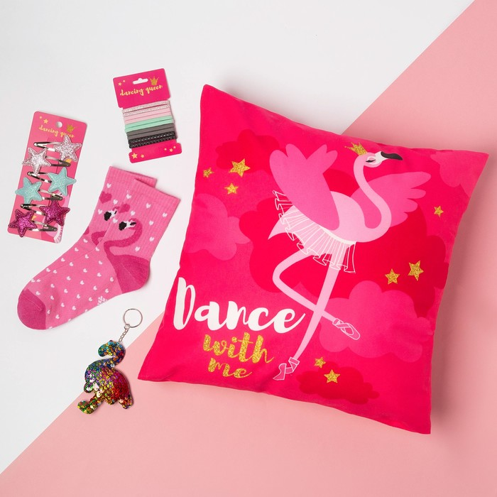 """Набор подарочный """"Фламинго"""" подушка-секрет 40х40 см и аксессуары (4 шт) - фото 105554636"""