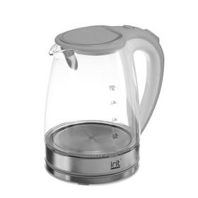 Чайник электрический Irit IR-1236, стекло, 1.8 л, 2200 Вт, подсветка, серебристый,