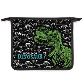Папка для тетрадей, А5, молния сверху, ламинированный картон, «Оникс», ПТ- 715, «Мир динозавров»