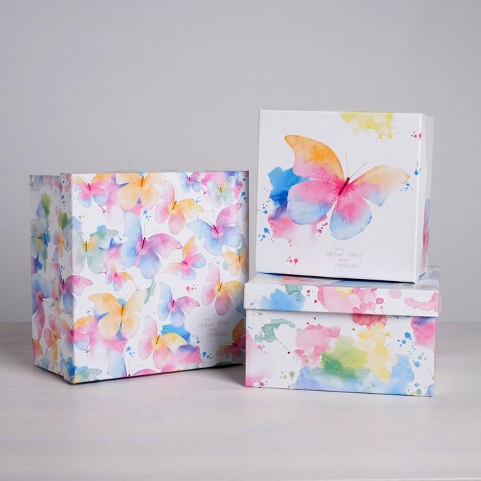 Набор подарочных коробок 3 в 1 «Акварельные бабочки», 18 х 18 х 10 - 22 х 22 х 12 см - фото 798415245