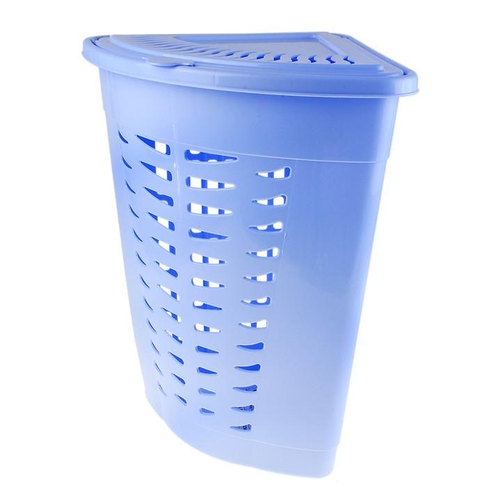 Корзина для белья угловая 45 л, цвет голубой