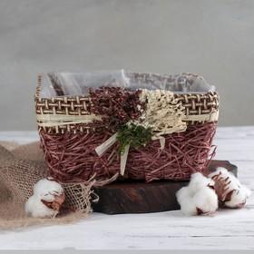 """Кашпо плетеное """"Букет"""" квадрат, 20х20х10 см, цвет коричневый"""