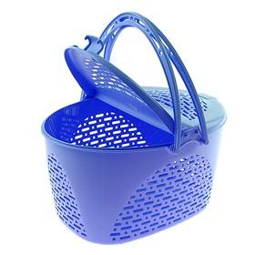 Корзина для пикника, 39×29×23 см, цвет голубой