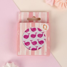 GIFT plastic compact Mirror/leatherette circle (2) without led d7. 5cm Nude MIX KOR QF
