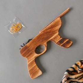 Игрушка деревянная стреляет резинками «Автомат»2,5×19×14 см Ош