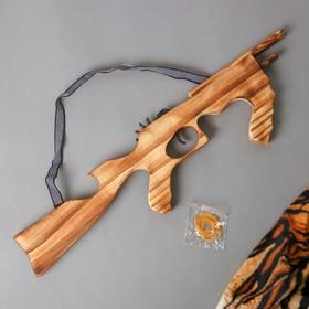 Игрушка деревянная стреляет резинками «Автомат» 2×53×13 см