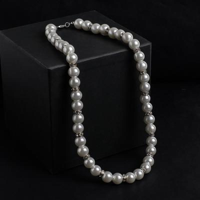 Beads pearls Bride beads d=1, white with crystals , 40 cm