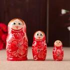"Matryoshka ""Pink flowers"", red dress, 3 doll, 10 cm"