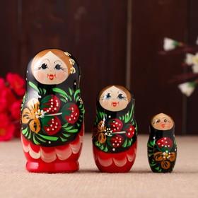 "Doll ""Strawberry"" black dress, 3 doll, 10 cm"