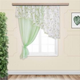 Комплект штор для кухни Византия 280х160 см, цв. св.зеленый левая, пэ 100%