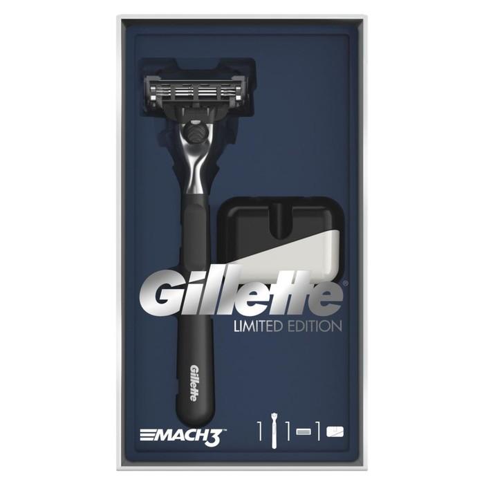 Подарочный набор Gillette Mach3: бритва с 1 сменной кассетой + подставка