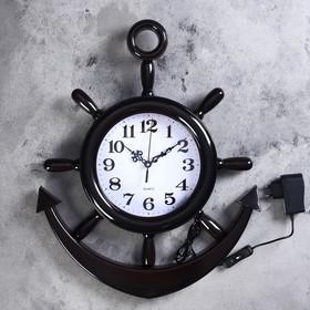 """Часы настенные, серия: Море, """"Штурвал"""", d=25 см, плавный ход, с подсветкой, 1 АА"""