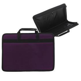 Папка с ручками каркасная кожзам А4, 50 мм, 330 х 240 мм, «Гатчина», лак, фиолетовый