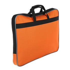 Папка с ручками текстиль А4, 30 мм, 300 х 210 мм, «Канцбург», внешний/внутренний карман, оранжевый