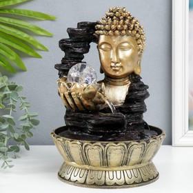 """Фонтан настольный от сети, подсветка """"Будда с лотосом в руке"""" бронза 30х20х20 см"""