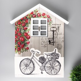 "Крючки декоративные дерево с полочкой ""Велосипед в саду"" 30,5х25х8 см"