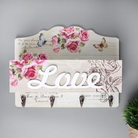 """Крючки декоративные дерево с кармашком """"Розовые розы с бабочками"""" 22,5х30х10,5 см"""