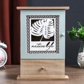 """Ключница дерево 6 крючков с ящиком """"Пальмовый лист и греческий узор"""" 29,5х21х8 см"""