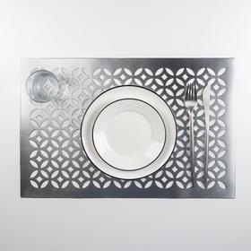 """Салфетка кухонная 45×30 см """"Грани"""", цвет серебряный"""