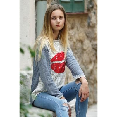 Джемпер для девочки, рост 134 см, цвет синий меланж