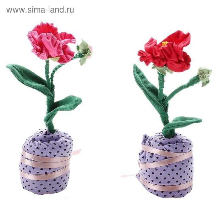 Сувенир декор Цветок с бутоном h=17 см (цвета микс)