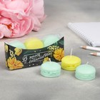 "A set of candle-macaron ""Yellow flowers"", 11 x 5 x 2.5 cm"