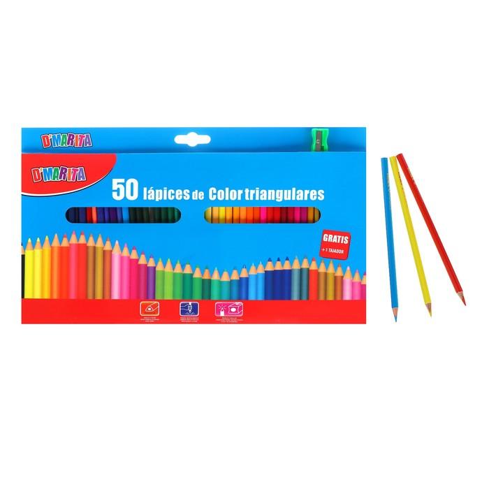 Карандаши цветные 50 цветов, трёхгранные, матовые, деревянные, в картонной коробке