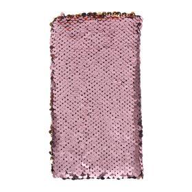 Записная книжка подарочная формат А6, 80 листов, линия, Пайетки двухцветные розово-золотой